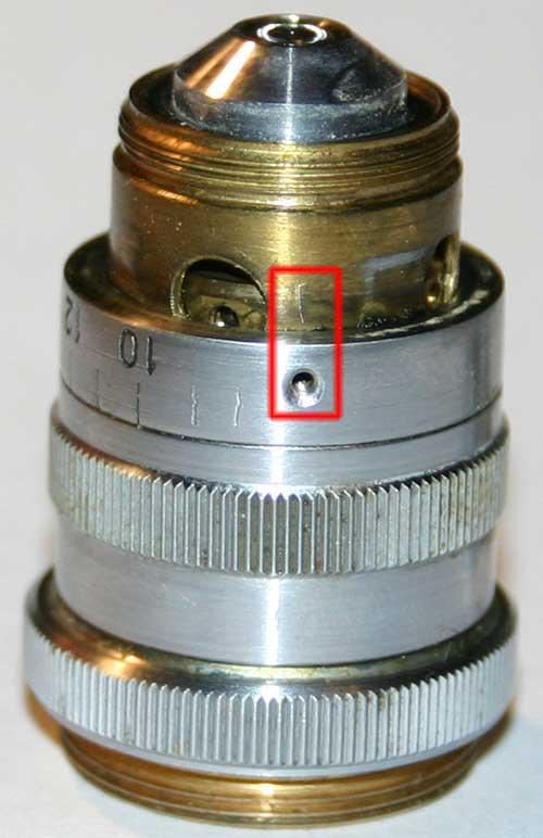 Ремонт объектива ЛОМО АПО 40х0.95, отмечаем положение кольца со шкалой