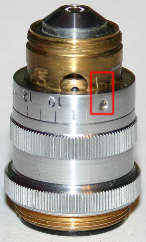 Ремонт объектива ЛОМО АПО 40х0.95, надеваем кольцо со шкалой