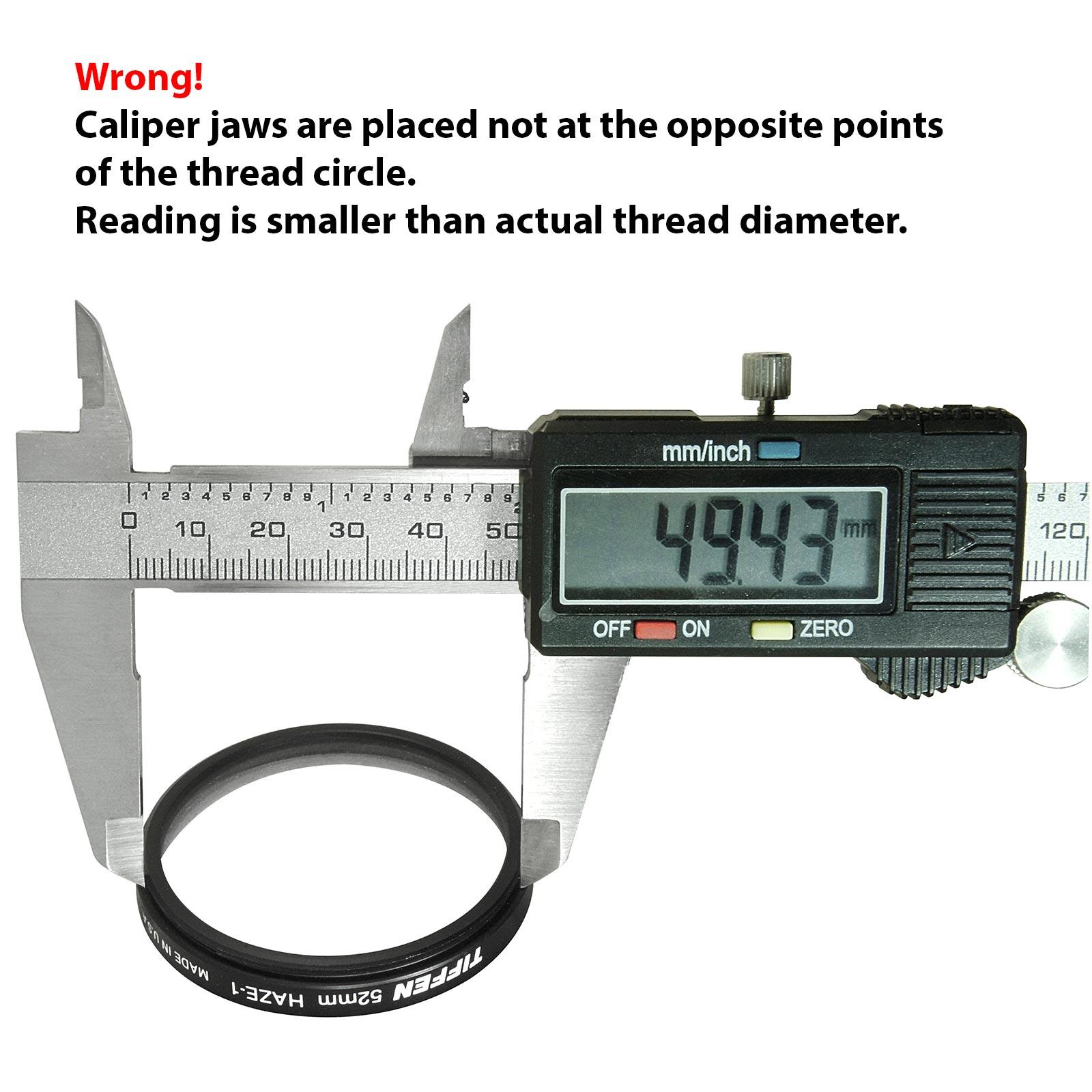Measuring external thread with digital caliper